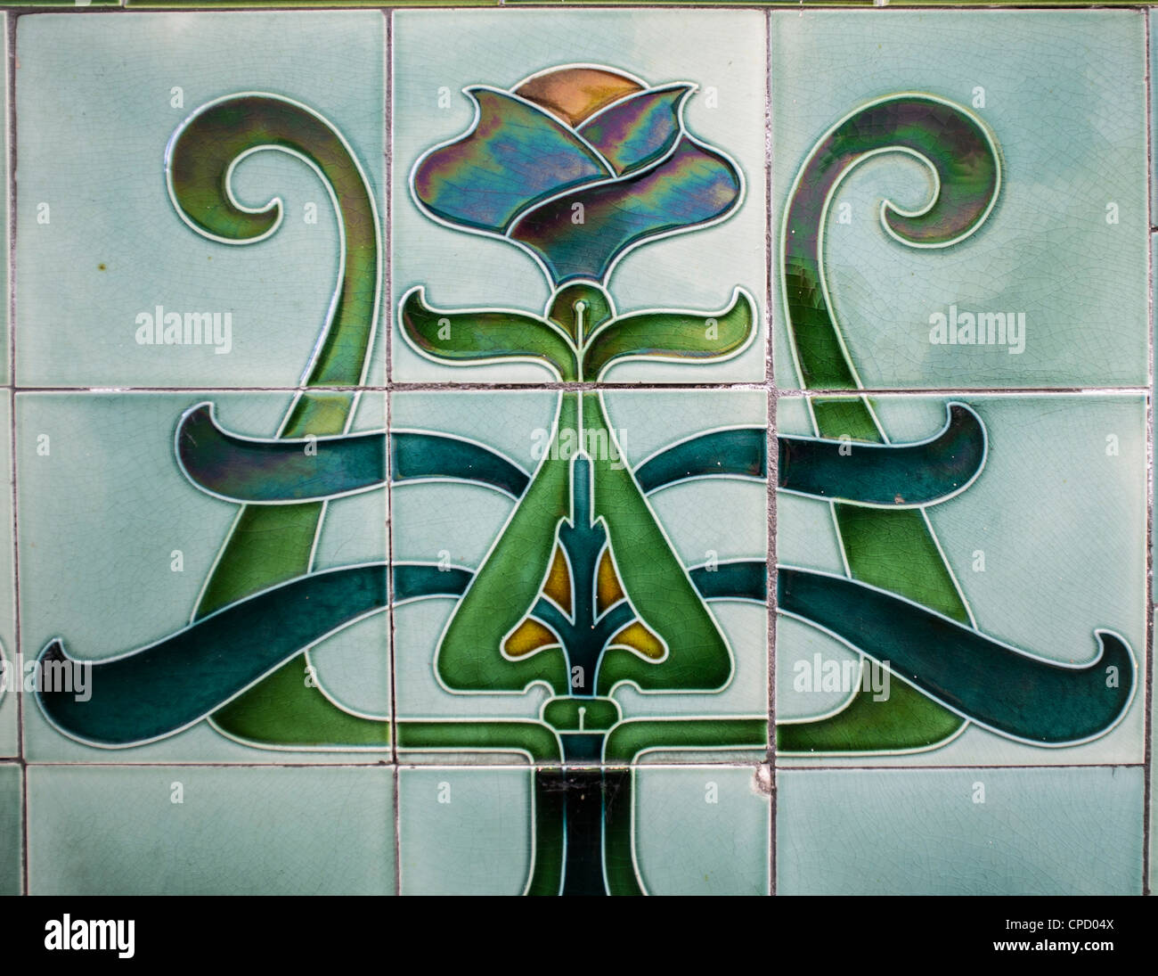 ornate green art deco ceramic wall tiles uk stock photo 48228682