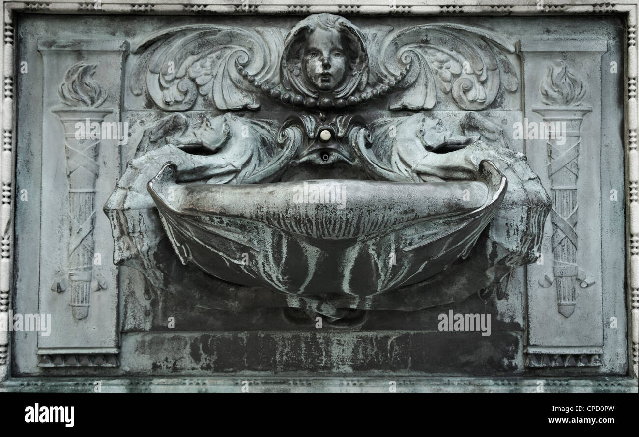 An ornate stone fountain, London, UK. - Stock Image