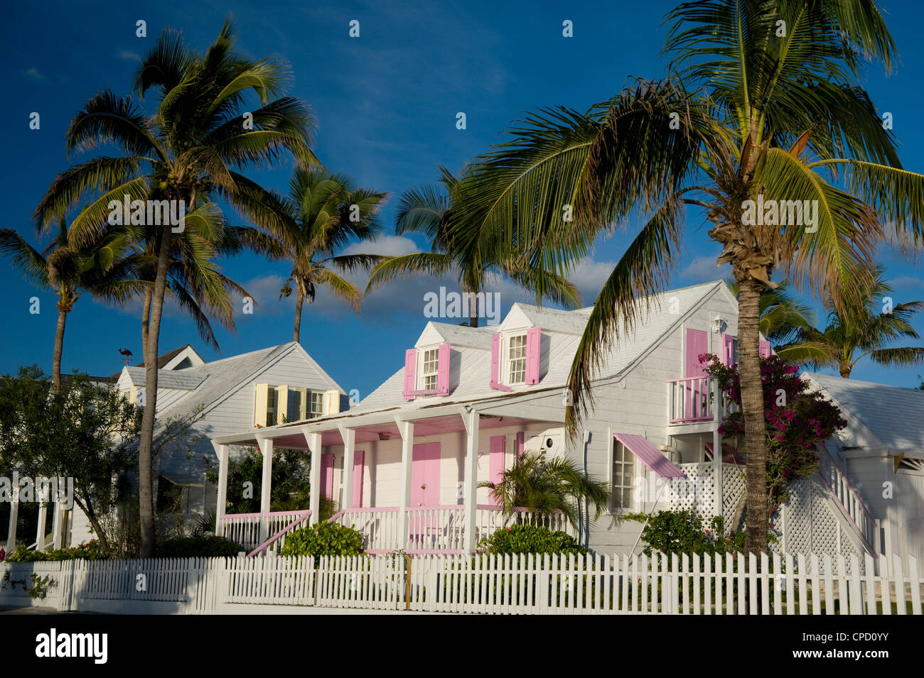 Pastel painted colonial houses in Dunmore Town, Harbour Island, Eleuthera, The Bahamas, West Indies, Caribbean, - Stock Image
