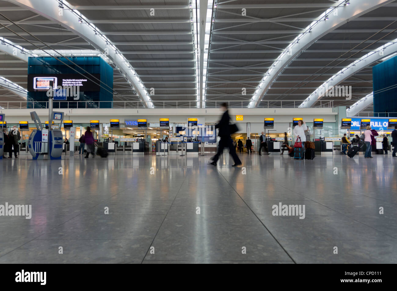 Heathrow Airport Terminal 5 interior, London, England, United Kingdom, Europe - Stock Image