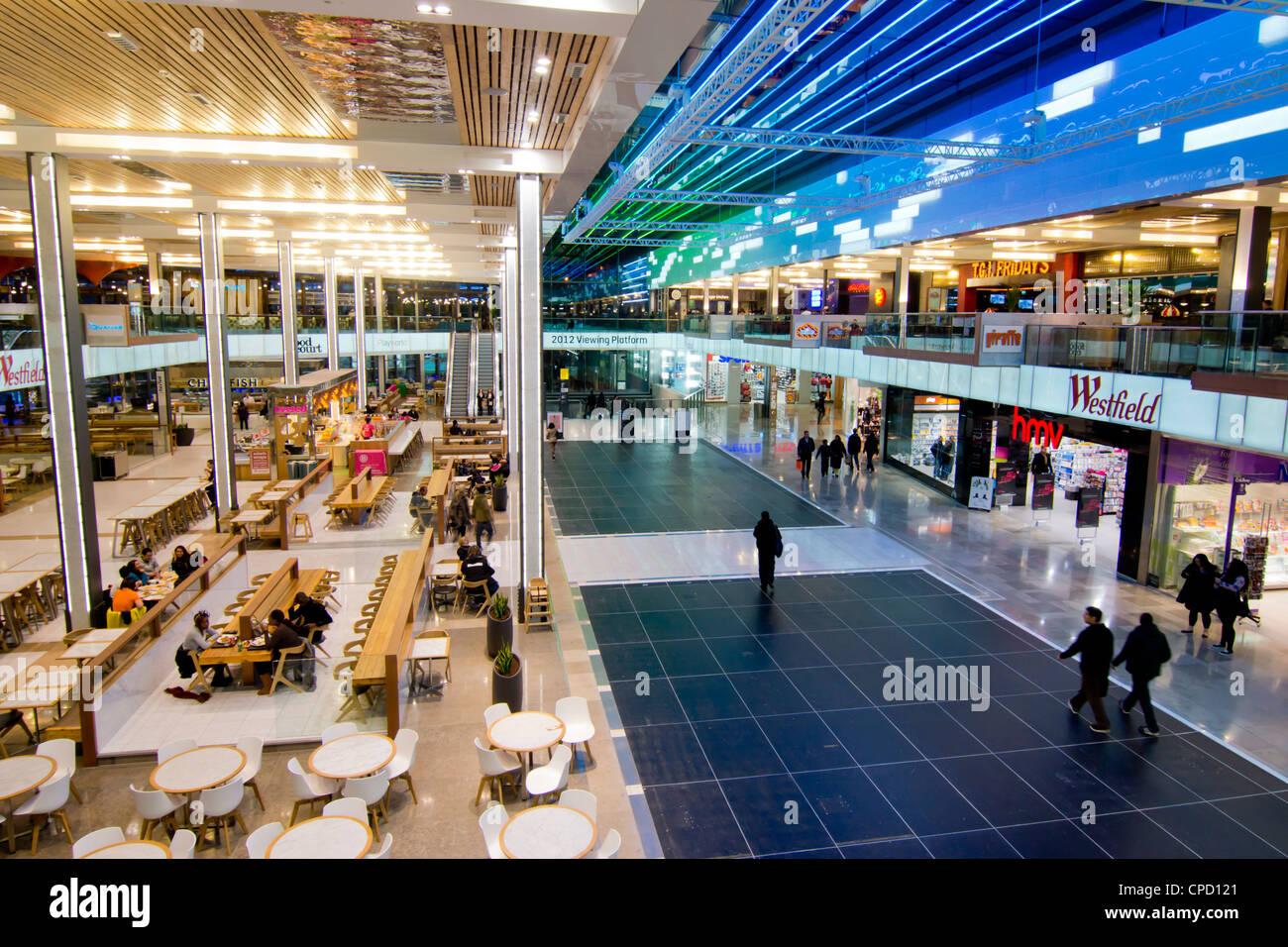 Interior of Westfield shopping centre, Stratford, London, England, United Kingdom, Europe - Stock Image
