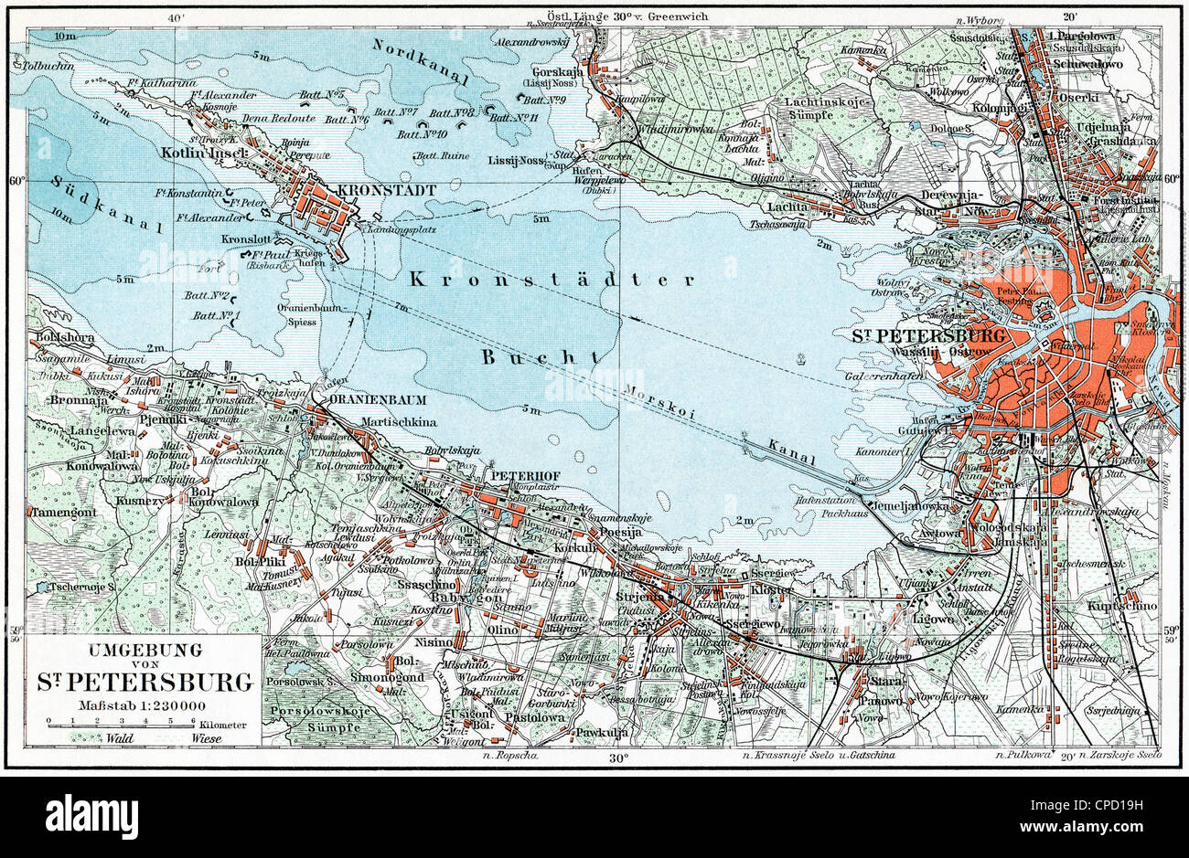 Map of St Petersburg and the surrounding area Kronstadt and the
