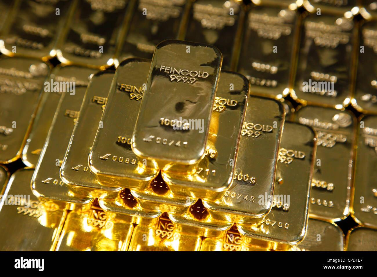 Gold ingots, Frankfurt, Germany, Europe - Stock Image