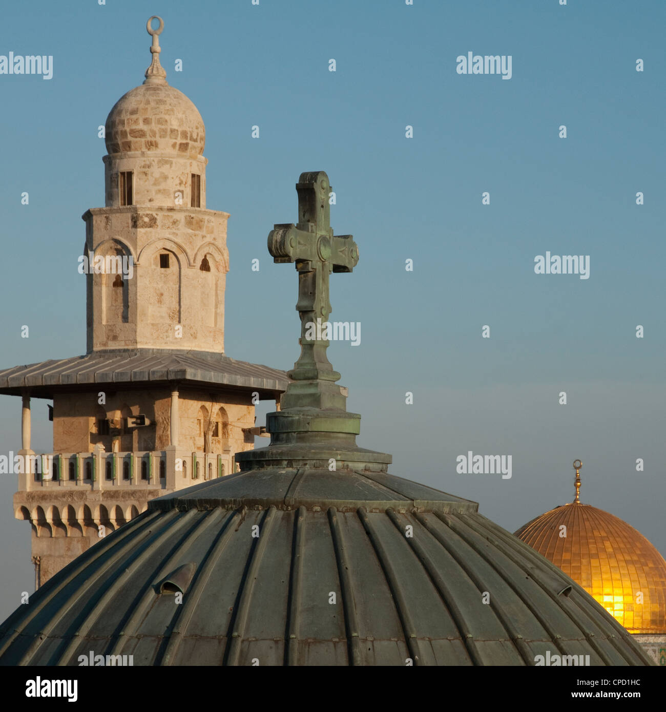 Ecce Homo dome, minaret and Dome of the Rock, Jerusalem, Israel, Middle East - Stock Image