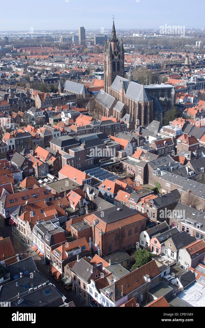 View over the city and the Oude Kerk (Old Church) from the viewing platform of the Nieuwe Kerk (New Church), Delft, - Stock Image