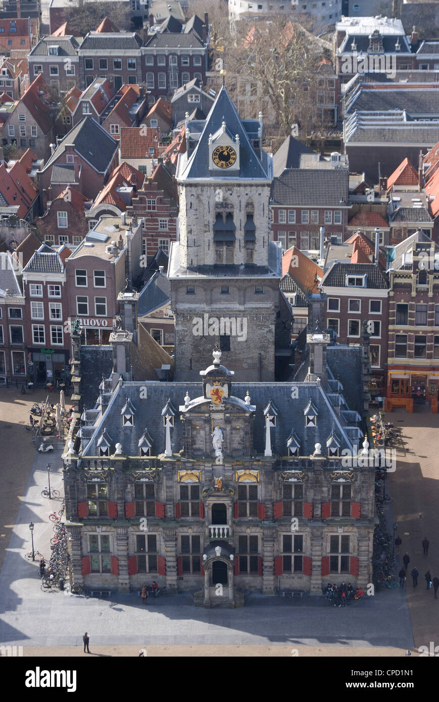 View over the city and the Stadhuis from the viewing platform of the Nieuwe Kerk (New Church), Delft, Netherlands, - Stock Image