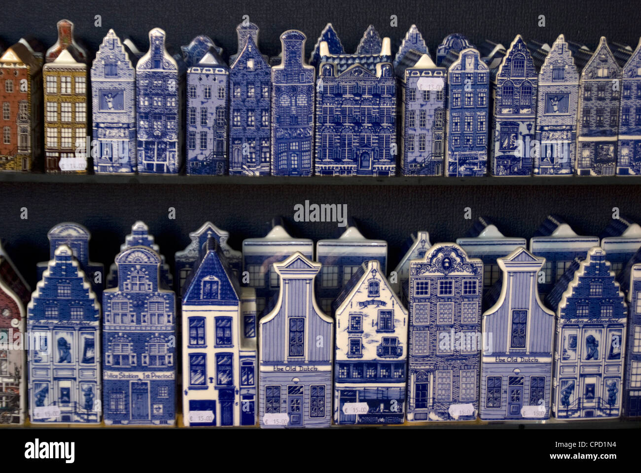 Delft pottery figures of traditional houses, Delft, Netherlands, Europe - Stock Image