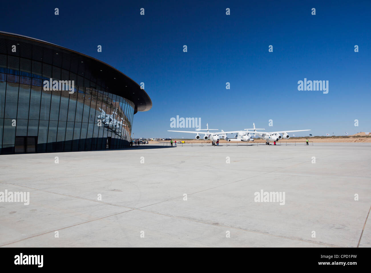 Virgin Galactic's White Knight 2 with Spaceship 2 on the runway at the Virgin Galactic Gateway spaceport, Upham, - Stock Image