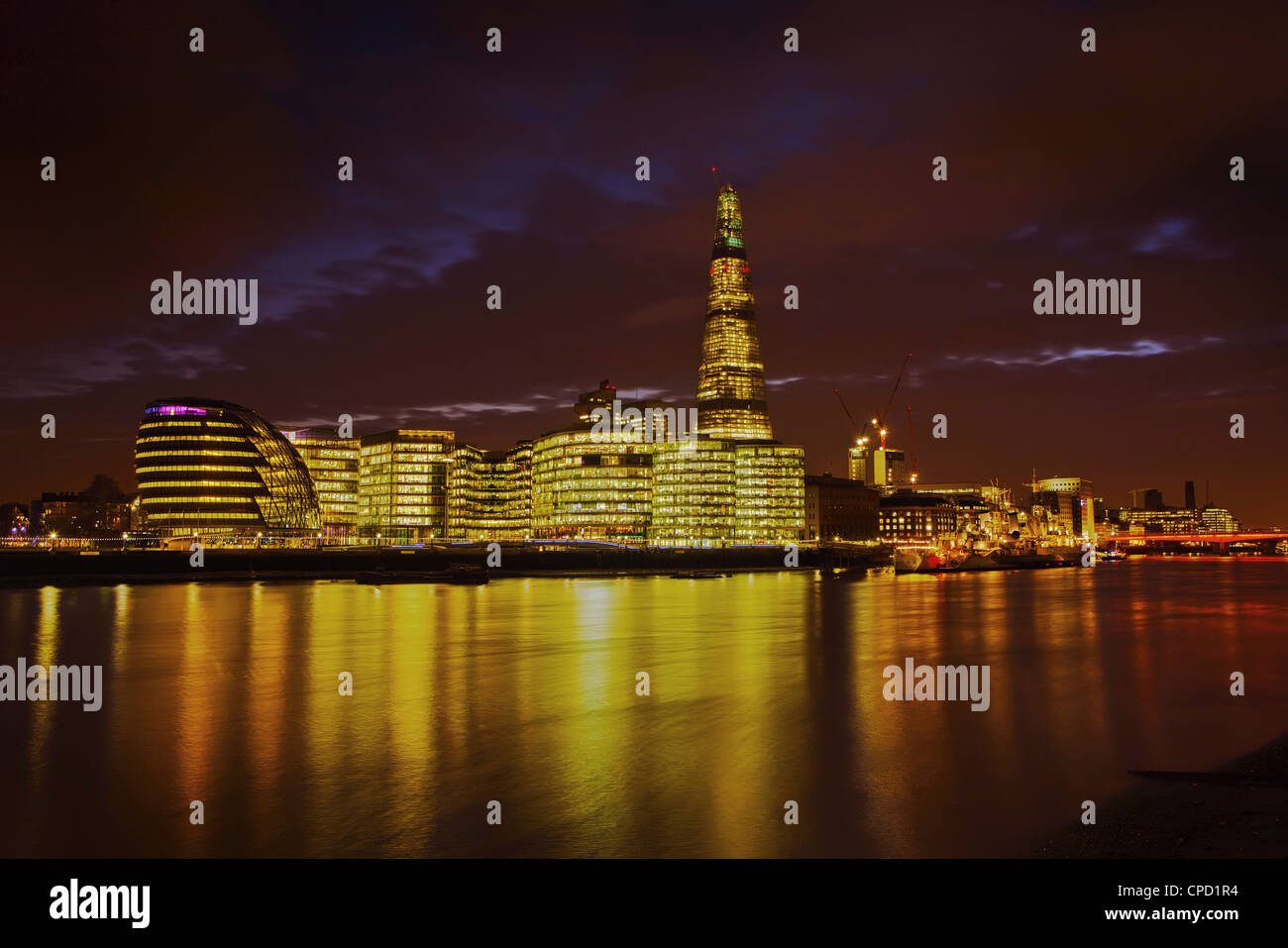 The Shard, City Hall, More London Place, Southwark Crown court and HMS Belfast at night, London, England, United - Stock Image