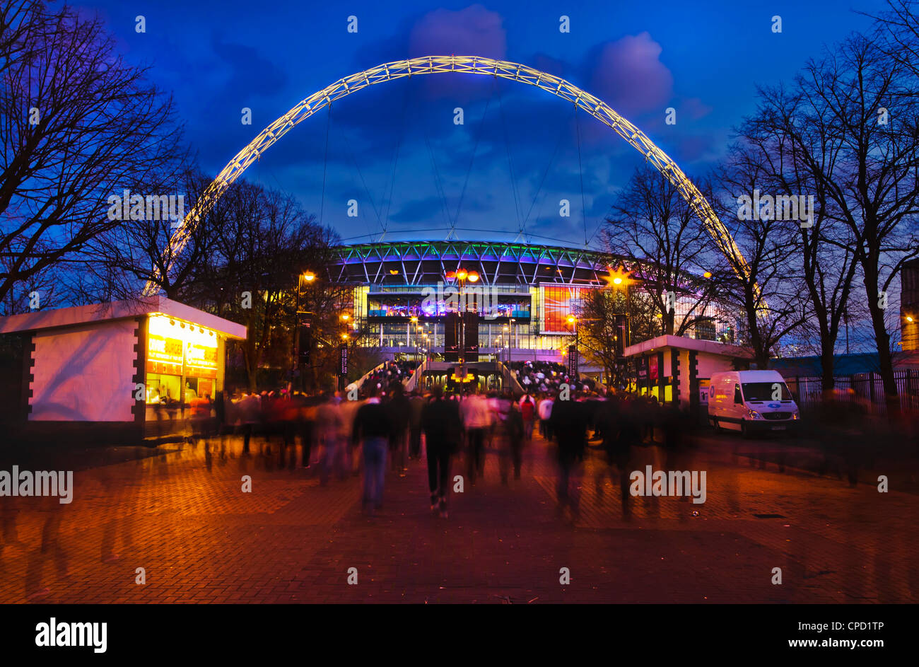 Wembley Stadium with England supporters entering the venue for international game, London, England, United Kingdom, - Stock Image
