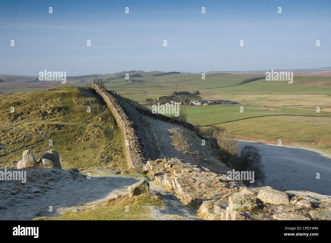 Cawfield Farm from Thorney Doors, Hadrians Wall, Northumbrian National Park, Northumbria, England, UK - Stock Image