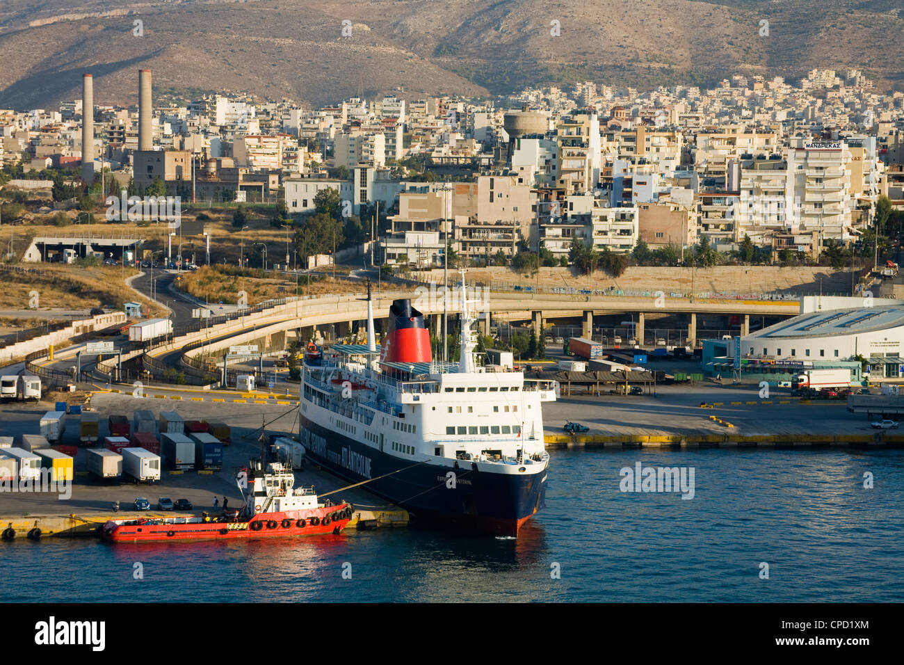 Ferry in Port of Piraeus, Athens, Greece, Europe - Stock Image