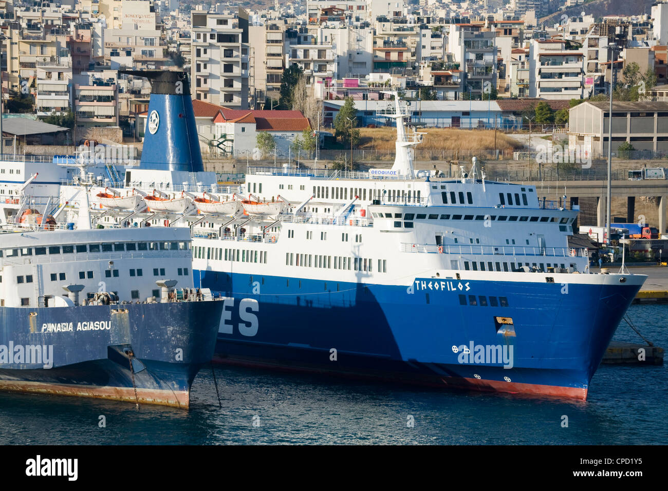 Ferries in the Port of Piraeus, Athens, Greece, Europe - Stock Image