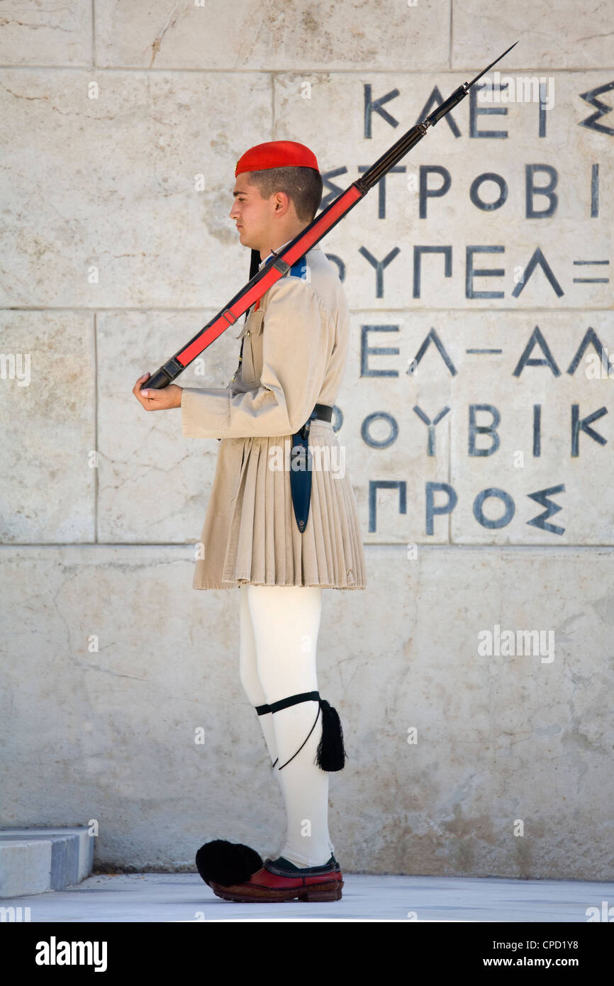 Changing of the Guard at the Tomb of the Unknown Soldier, Athens, Greece, Europe Stock Photo