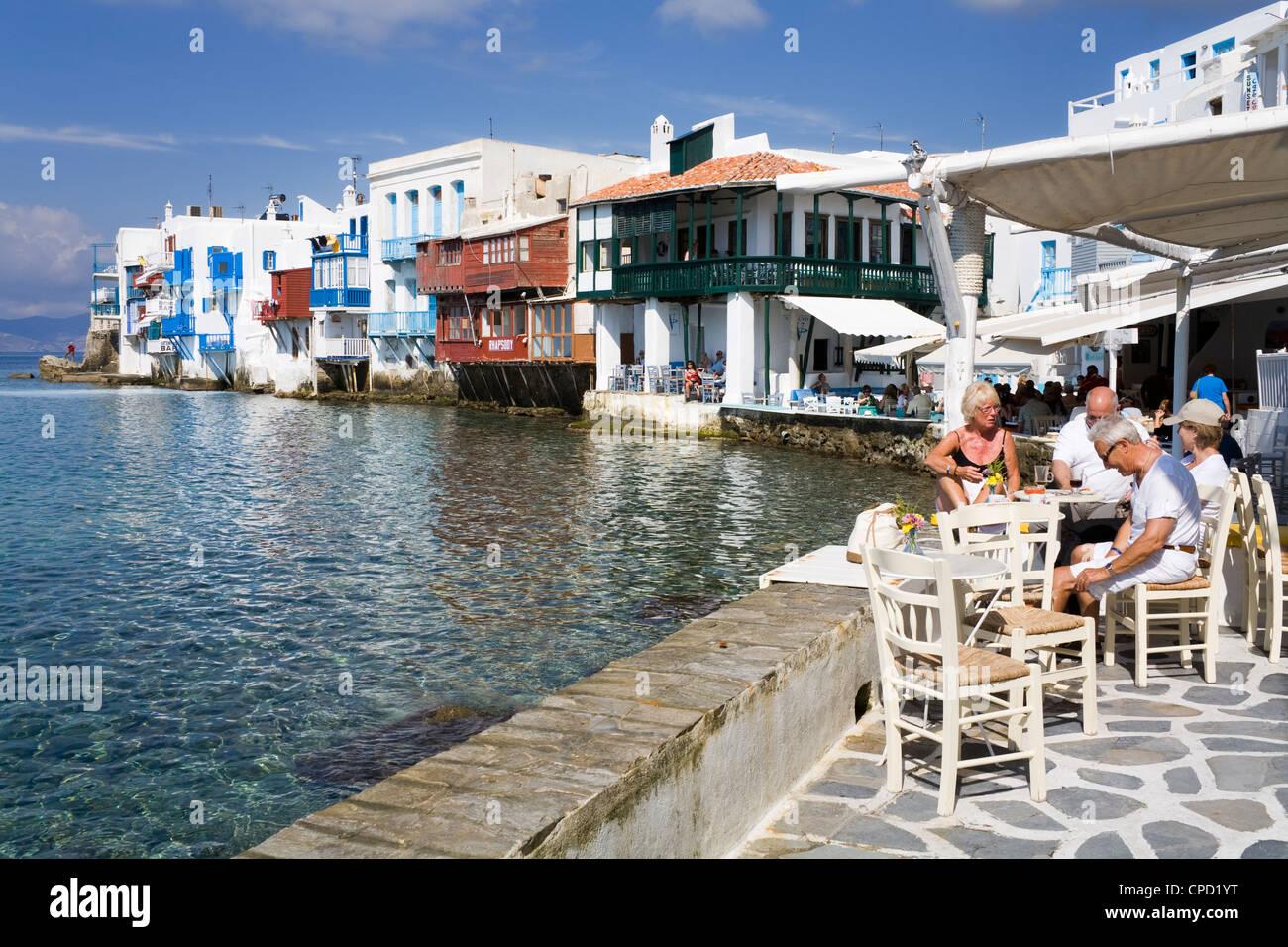 Little Venice in Mykonos Town, Island of Mykonos, Cyclades, Greek Islands, Greece, Europe - Stock Image