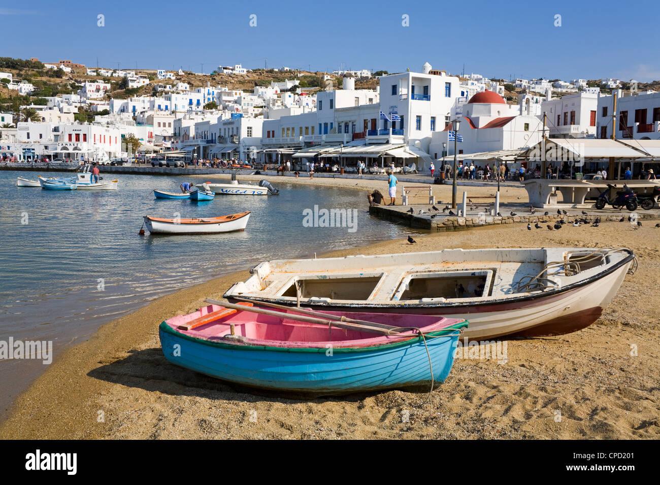 Fishing boats in Mykonos Town, Island of Mykonos, Cyclades, Greek Islands, Greece, Europe - Stock Image