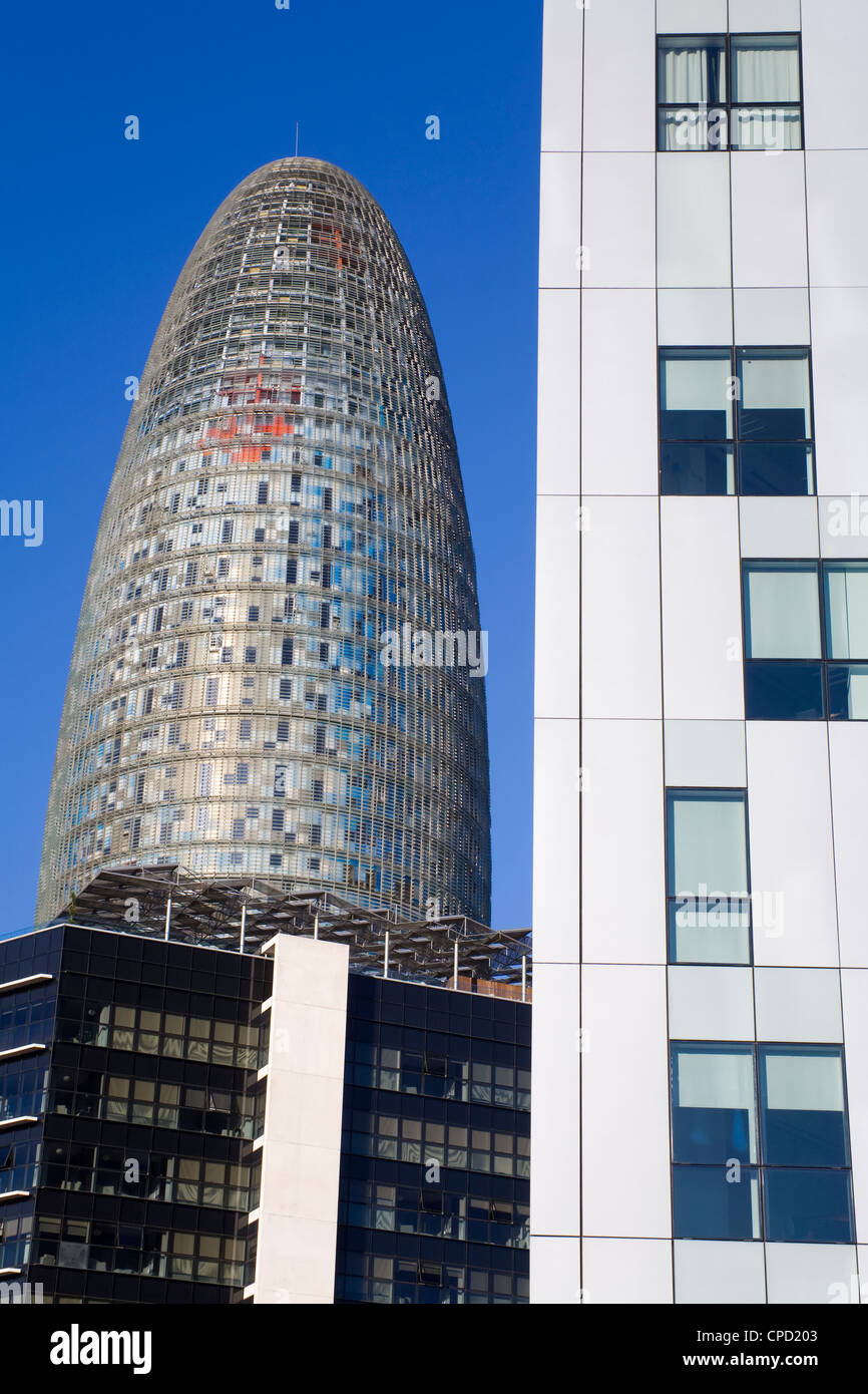 Torre Agbar skyscraper and Novotel Hotel on Avenue Diagonal, Barcelona, Catalonia, Spain, Europe - Stock Image