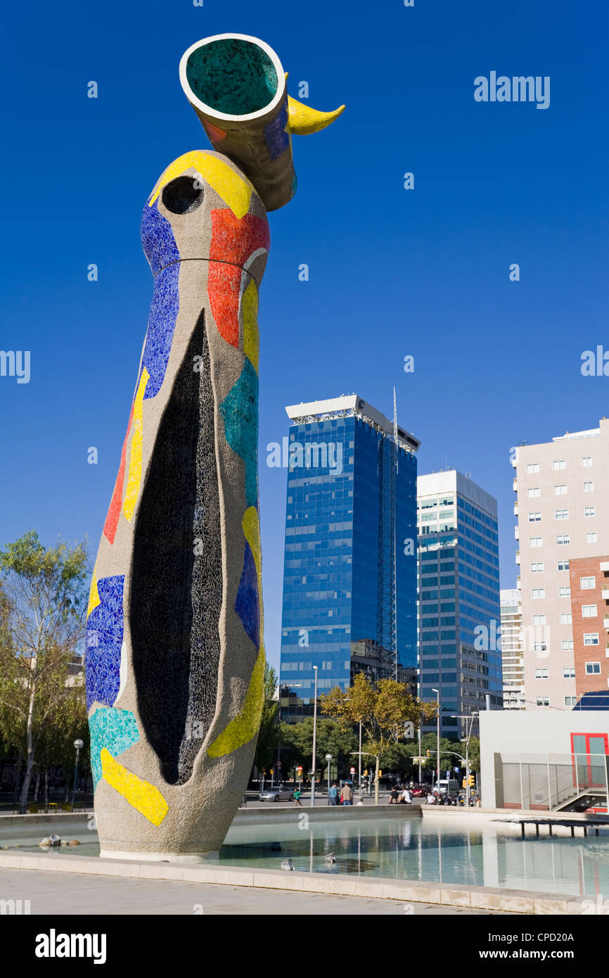 Dona i Ocell (Woman and Bird) sculpture in Joan Miro Park, L'Eixample District, Barcelona, Catalonia, Spain, - Stock Image