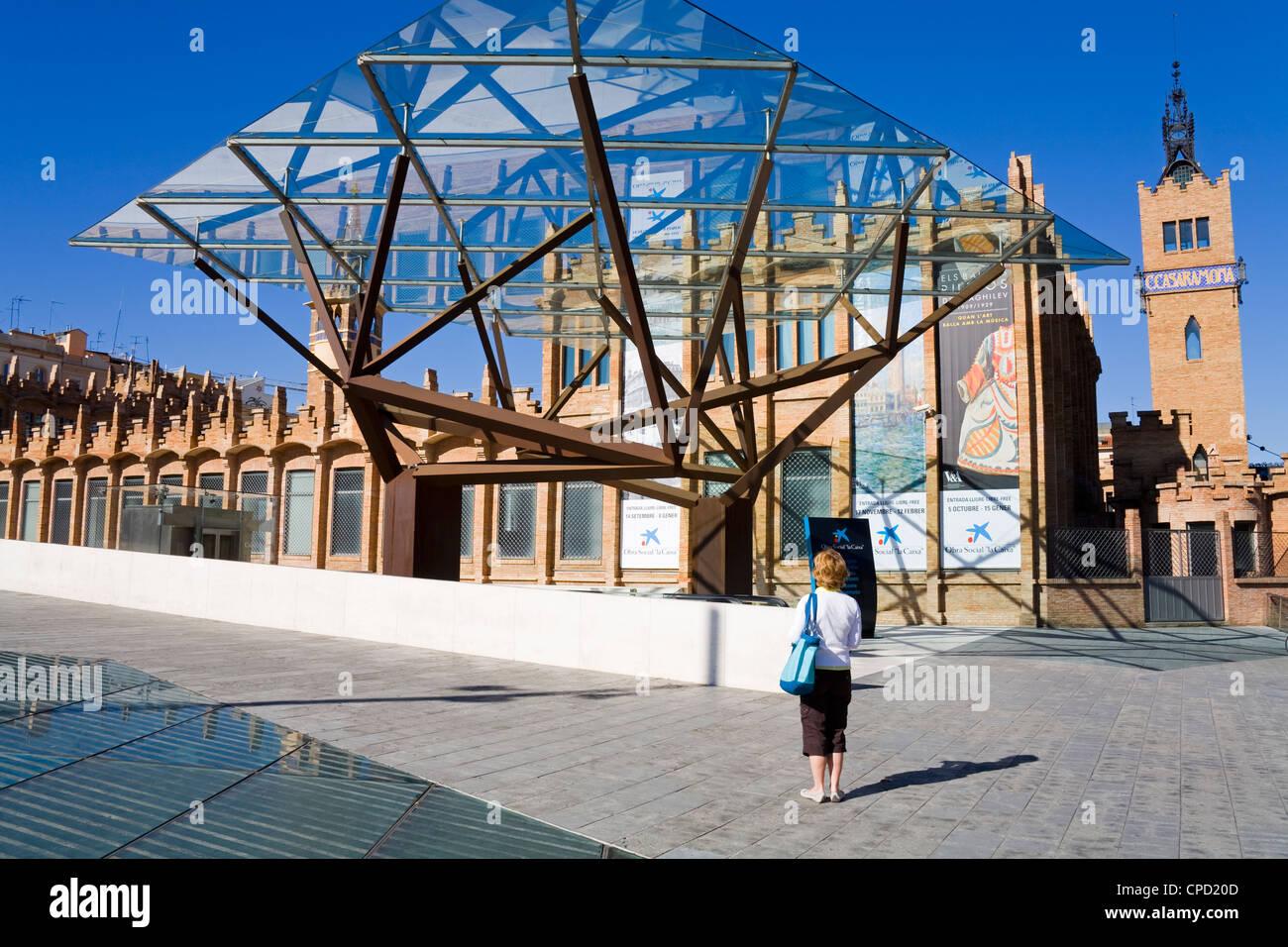 CaixaForum in the Montjuic District, Barcelona, Catalonia, Spain, Europe - Stock Image