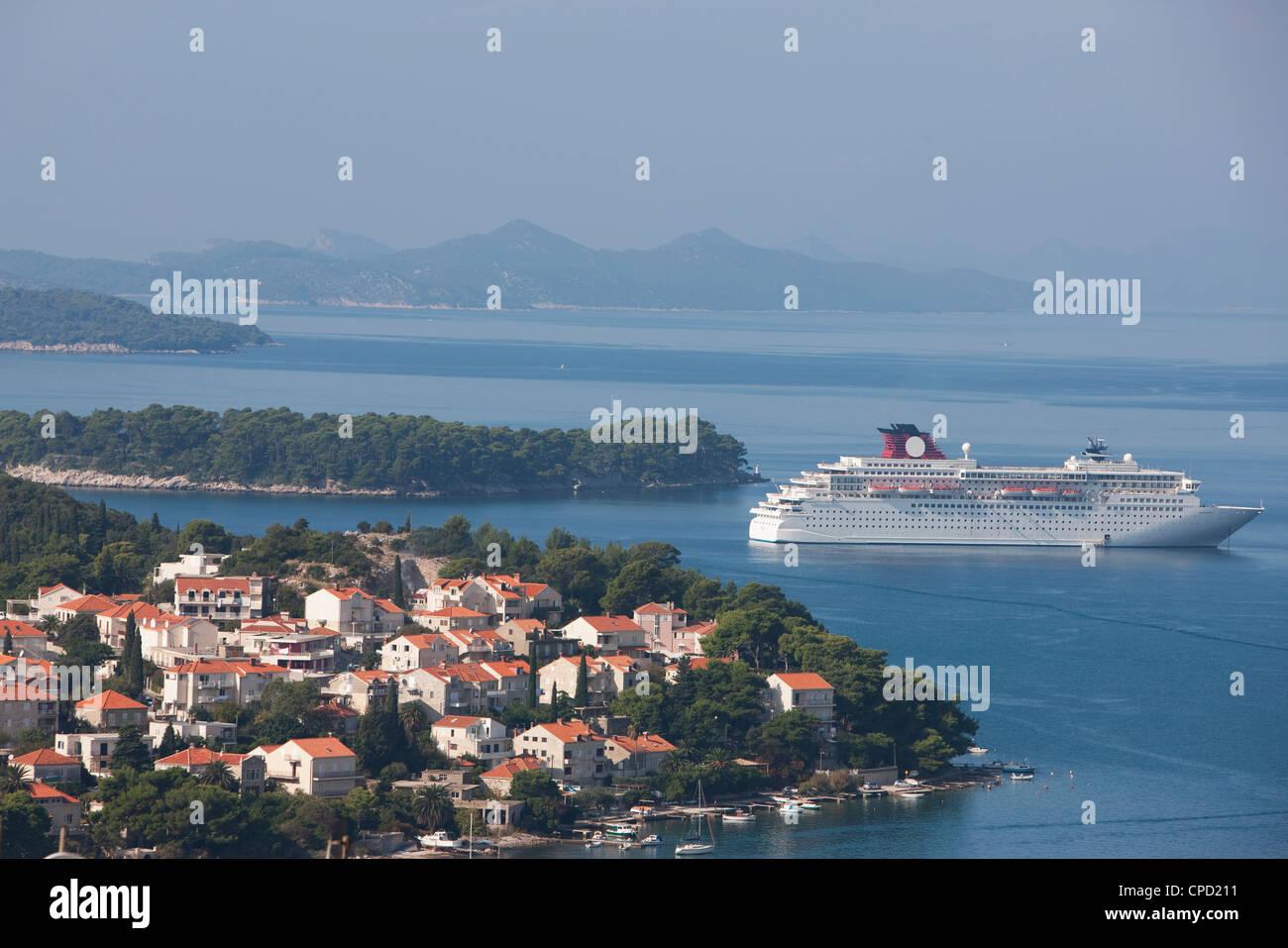 Cruise ships moored in port of Gruz, Dalmatia, Croatia, Europe - Stock Image