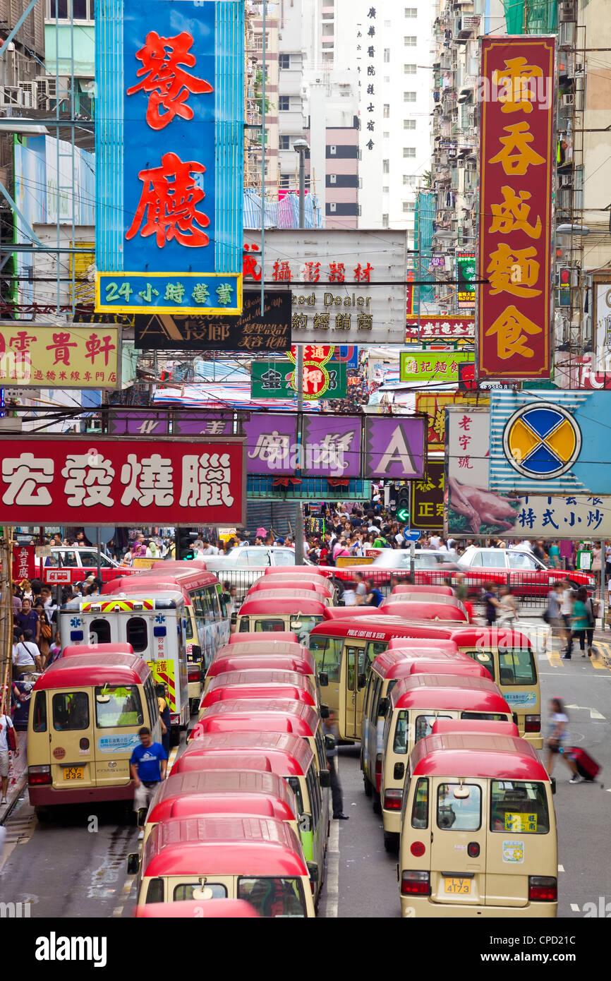 Street scene and Mini bus station, Mong Kok, Kowloon, Hong Kong, China, Asia - Stock Image