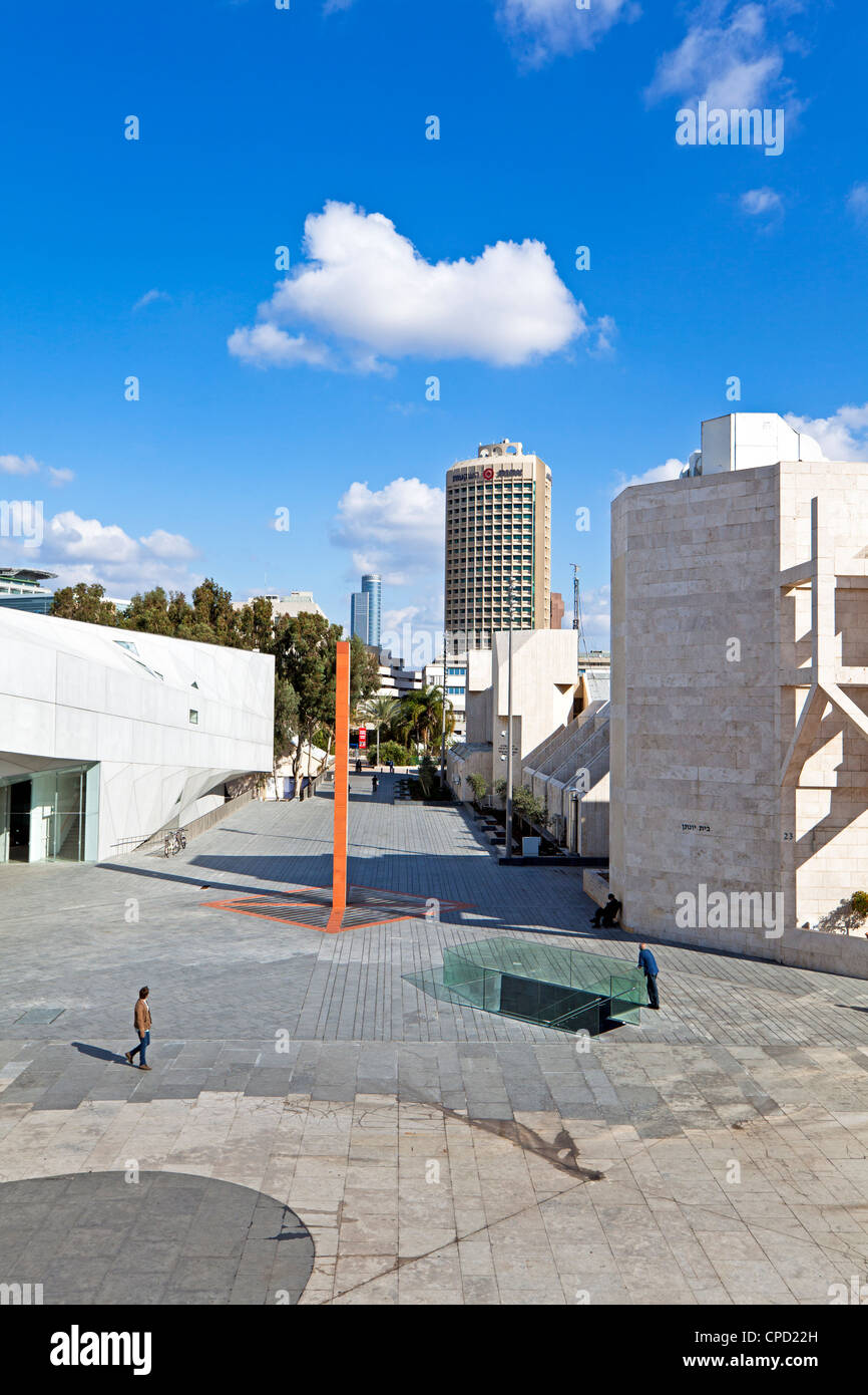 Exterior of the new Herta and Paul Amir building of the Tel Aviv Museum of Art and Central Library Building, Tel - Stock Image