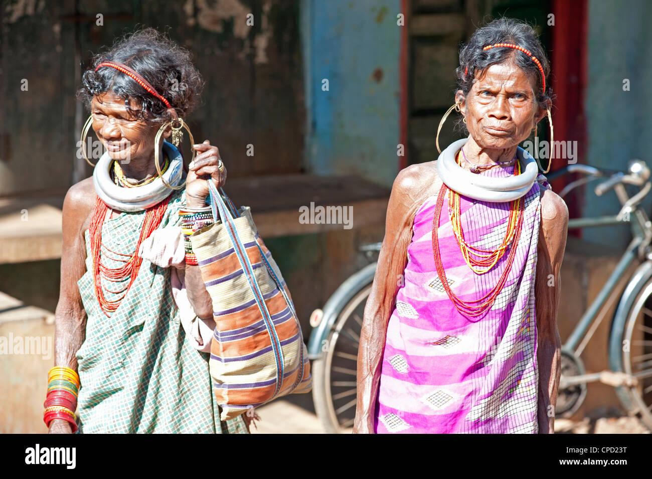Two Gadaba tribeswomen each with traditional jewellery, Rayagader, Orissa, India - Stock Image