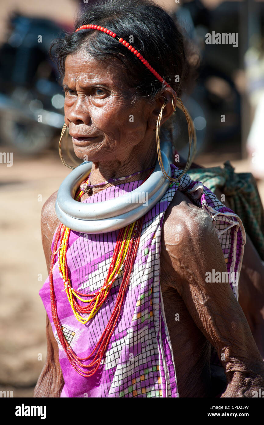 Mature Gadaba tribeswoman, Rayagader, Orissa, India - Stock Image