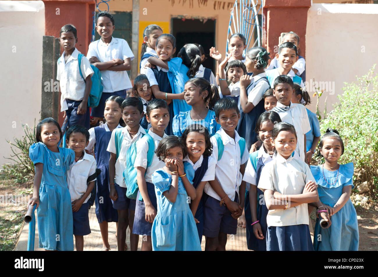 Schoolchildren outside village school, rural Orissa, India, Asia - Stock Image