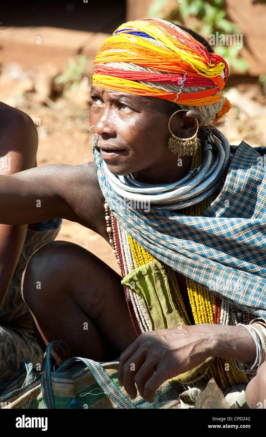 Bonda tribeswoman in traditional dress, Rayagader, Orissa, India - Stock Image