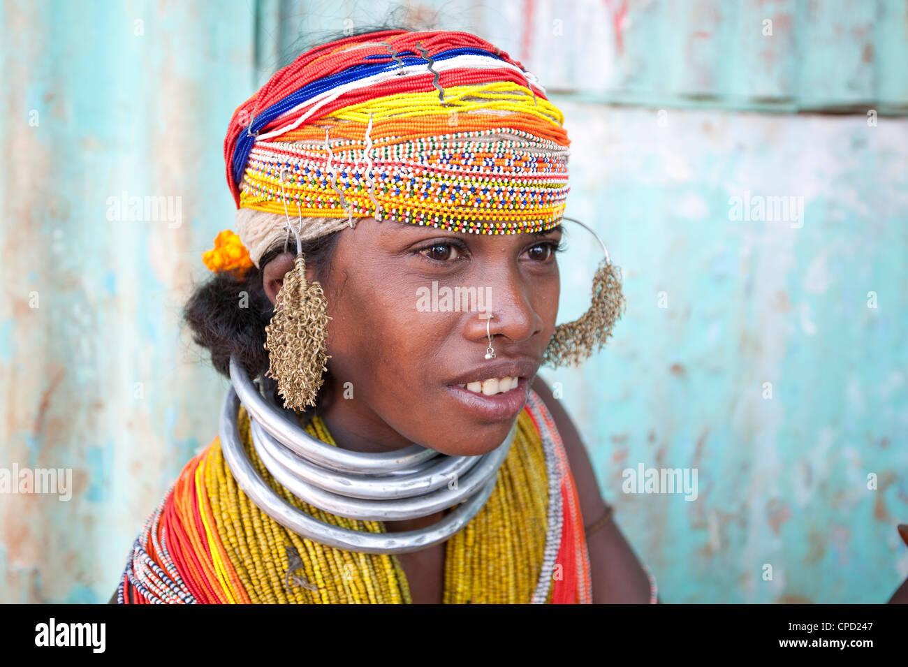 Bonda tribeswoman wearing traditional bead costume, Rayagader, Orissa, India - Stock Image