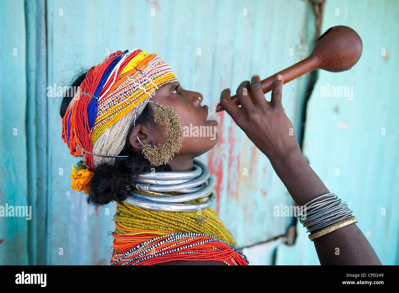 Bonda tribeswoman in traditional costume, Rayagader, Orissa, India - Stock Image