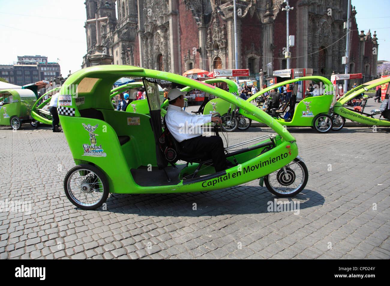 Eco friendly cycle rickshaw, Zocalo, Plaza de la Constitucion, Mexico City, Mexico, North America - Stock Image