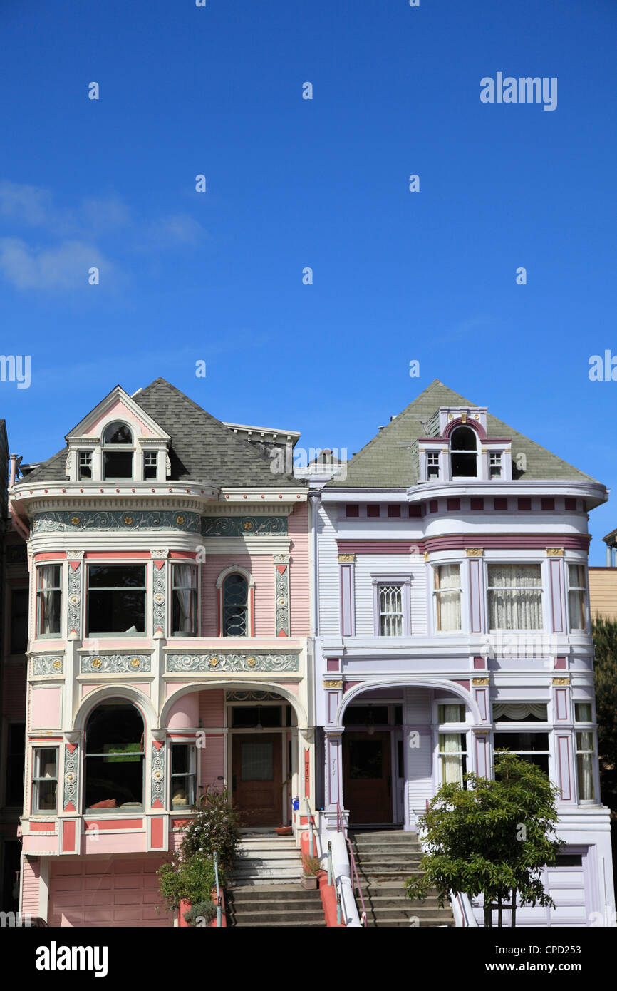 Victorian architecture, Painted Ladies, Alamo Square, San Francisco, California, United States of America, North - Stock Image