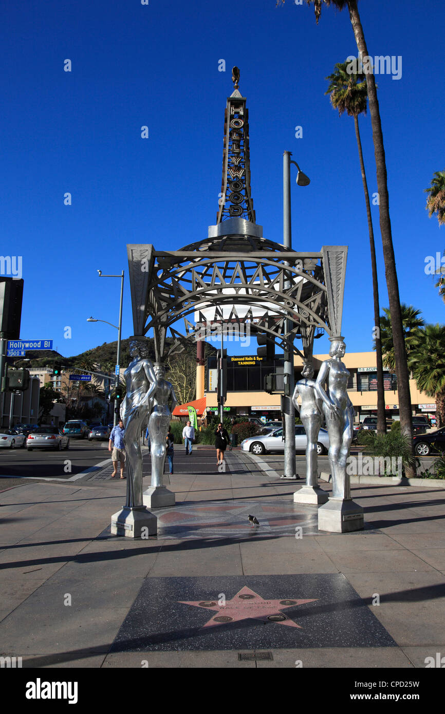 Silver Four Ladies of Hollywood Gazebo, Hollywood Walk of Fame, Hollywood Boulevard, Hollywood, Los Angeles, California, - Stock Image