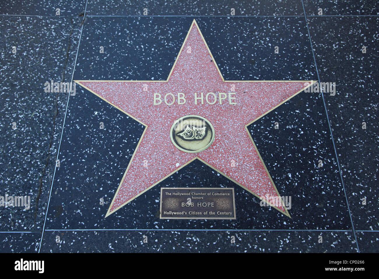 Bob Hope, Star, Hollywood Walk of Fame, Hollywood Boulevard, Hollywood, Los Angeles, California, USA - Stock Image