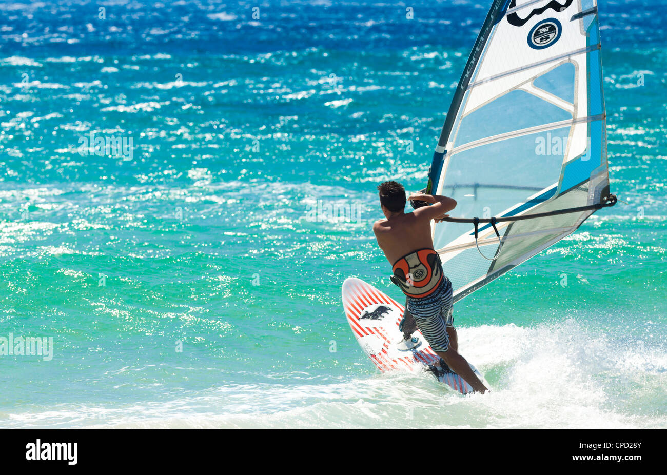 Big Jump windsurfing in high Levante winds in the Strait of Gibraltar, Valdevaqueros, Tarifa, Andalucia, Spain, - Stock Image