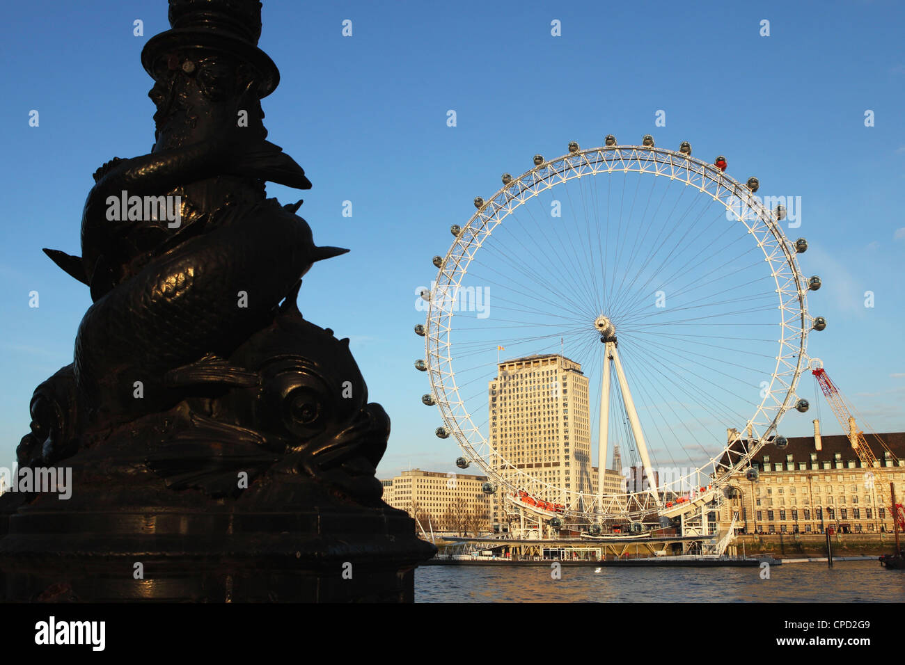 Ornate fish lamppost on the Embankment, by the River Thames, opposite the London Eye, Westminster, London, England, - Stock Image