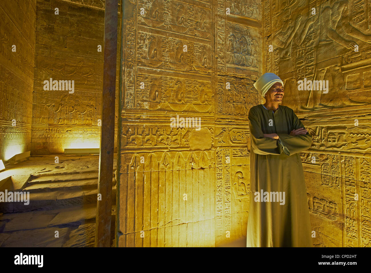 Bas relief on the walls of the Temple of Horus, Edfu, Egypt, North Africa, Africa - Stock Image
