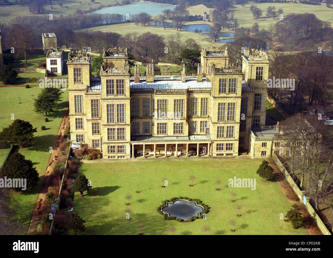 historic aerial view of Hardwick Hall, the Elizabethan masterpiece mansion near Chesterfield in Derbyshire, taken - Stock Image