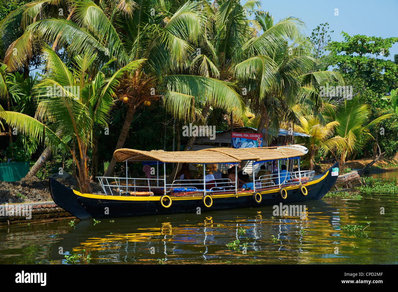 Boat for tourists on the Backwaters, Allepey, Kerala, India, Asia - Stock Image