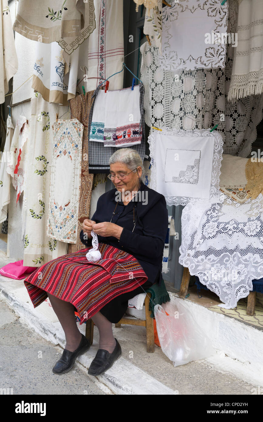Lace shop, Kritsa, Lasithi region, Crete, Greek Islands, Greece, Europe - Stock Image