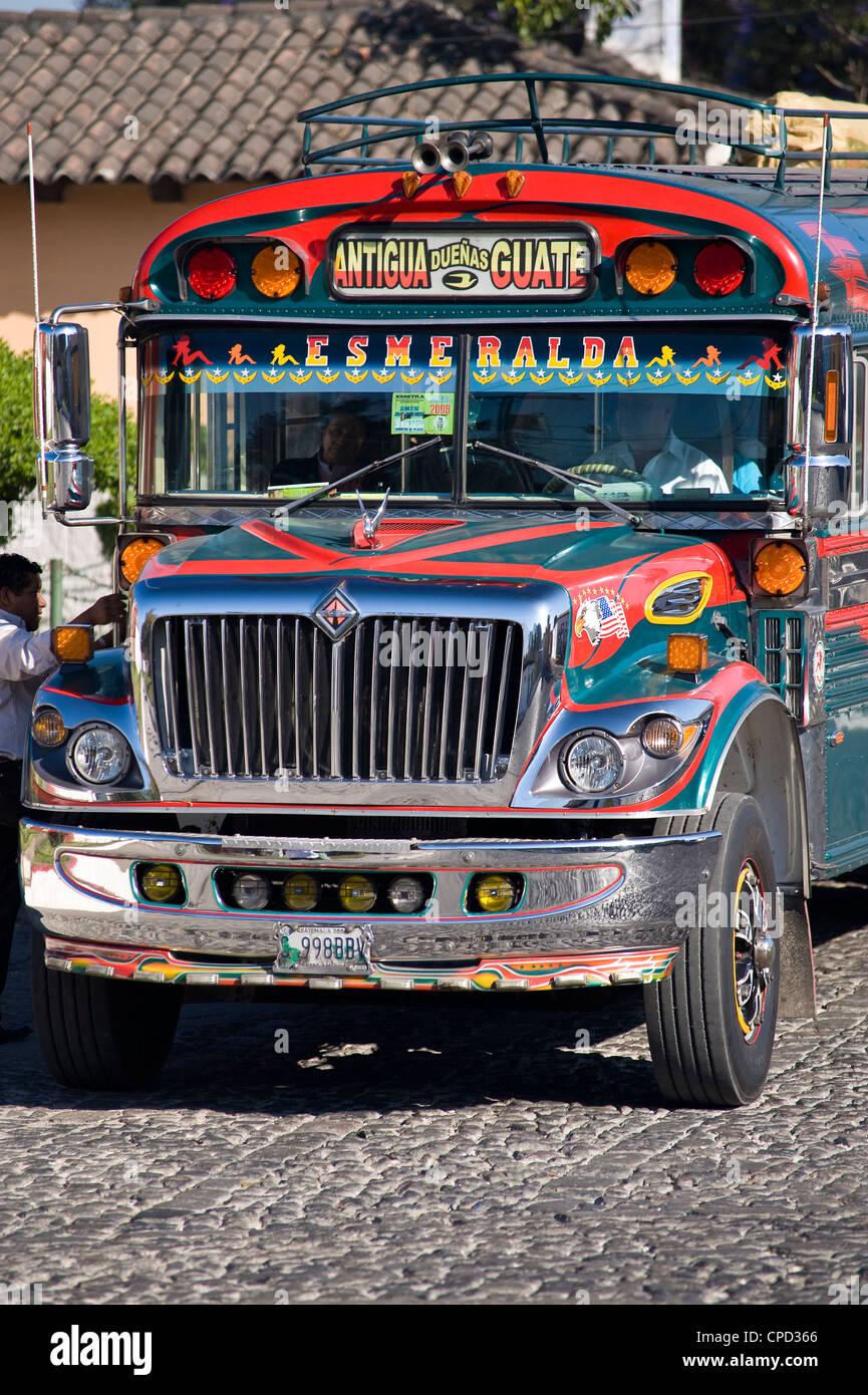 Chicken Bus, Antigua, Guatemala, Central America - Stock Image
