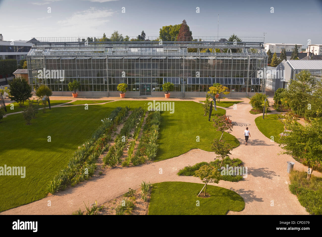 The huge greenhouse in the Jardins Botanique (Botanical Gardens), Tours, Indre et Loire, Centre, France, Europe - Stock Image