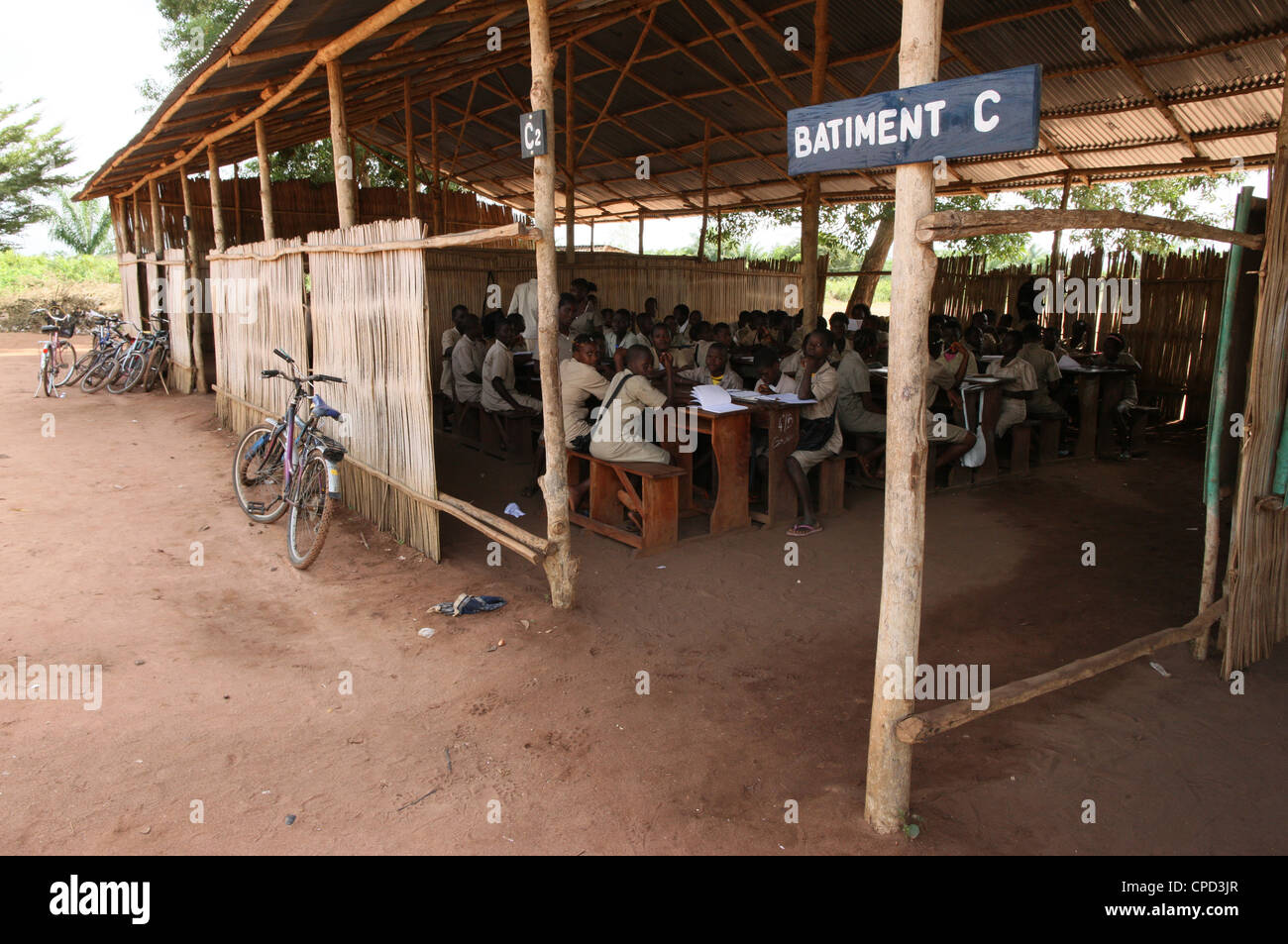 Secondary school in Africa, Hevie, Benin, West Africa, Africa - Stock Image