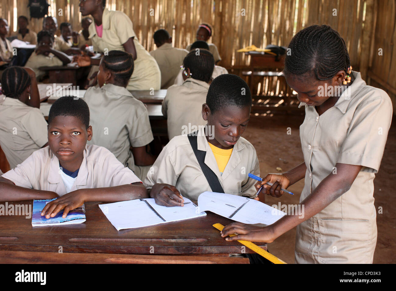 Secondary school in Africa, Hevie, Benin, West Africa, Africa Stock Photo