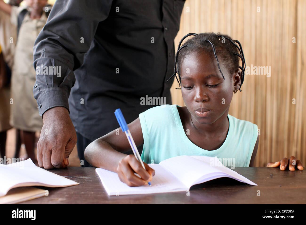 Secondary school in Africa, Hevie, Benin, West Africa, Africa - Stock Image