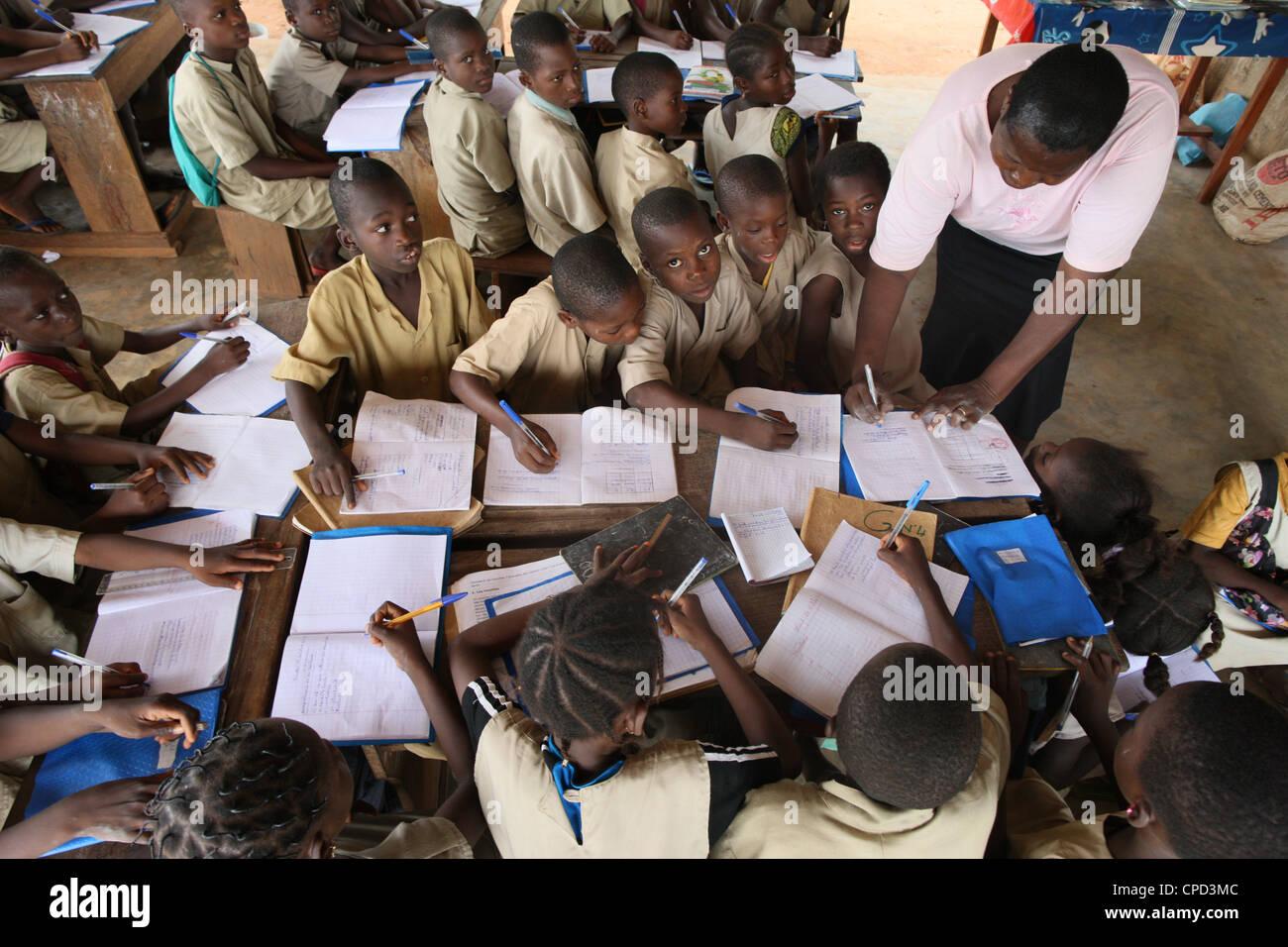 Primary school in Africa, Hevie, Benin, West Africa, Africa - Stock Image