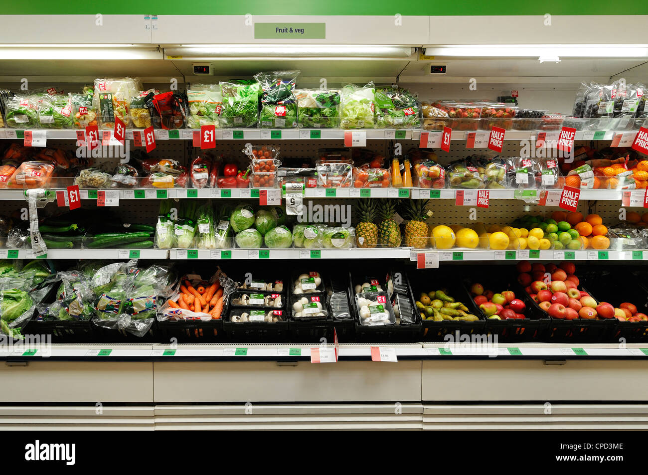 Fruit and Veg in a Supermarket, UK. - Stock Image