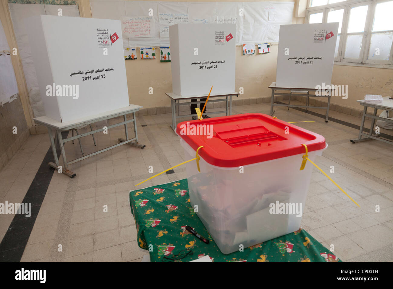 Polling box and booths for the election of the Constituent Assembly, Tunis, Tunisia, North Africa, Africa - Stock Image